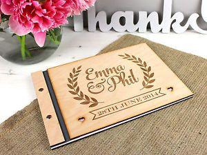 Personalised Rustic Engraved Vintage Laurel Design Wooden Wedding Guest Book   eBay