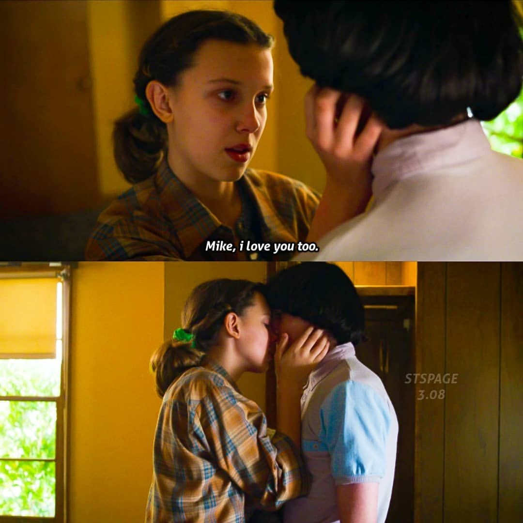 Stranger Things Eleven and Mike, I Love You Too, Kiss, Kissing, Millie Bobby Brown, Finn Wolfhard, Season 3