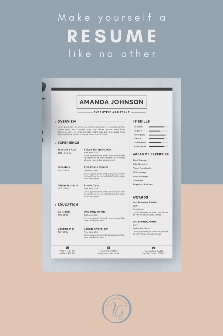 Creative Nurse Resume Template, Simple Nursing Resume Template for Word, Clean Medical Resume, RN