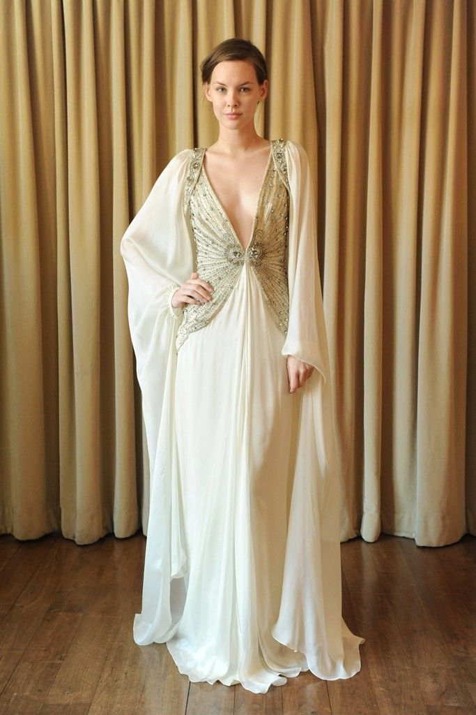 2013 Wedding Dress Trend Two Tone Bridal Gowns Sleeved Sheath With Plunging Neckline By Temperley Lo