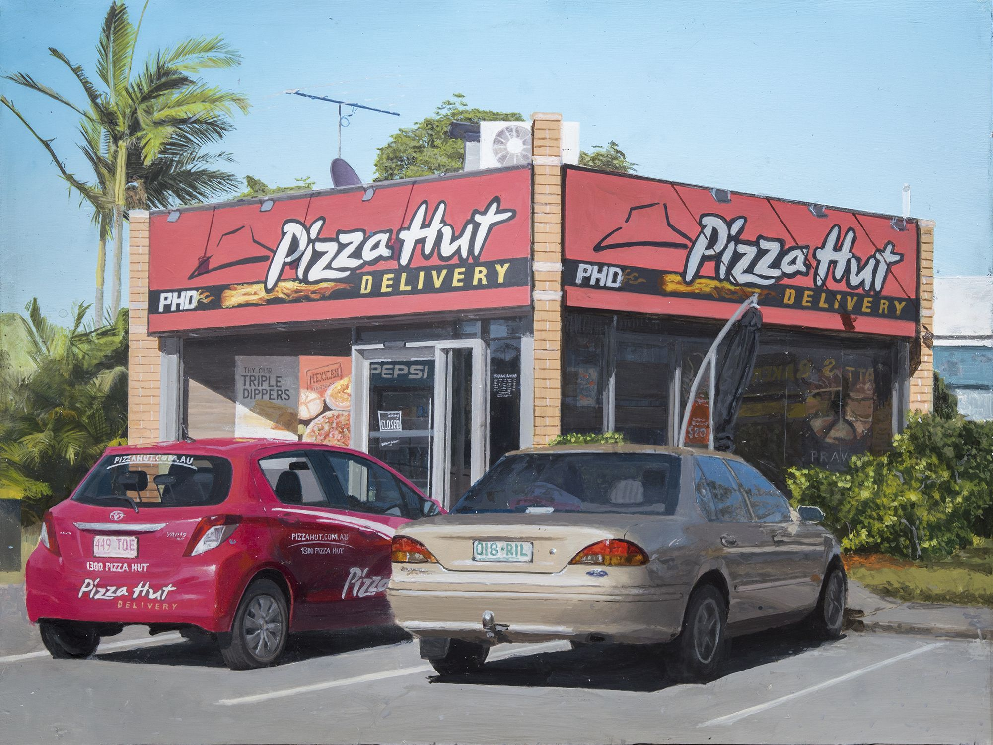 Pizza Hut By Riley P Acrylic On Panel 30 X 40cm Riley P