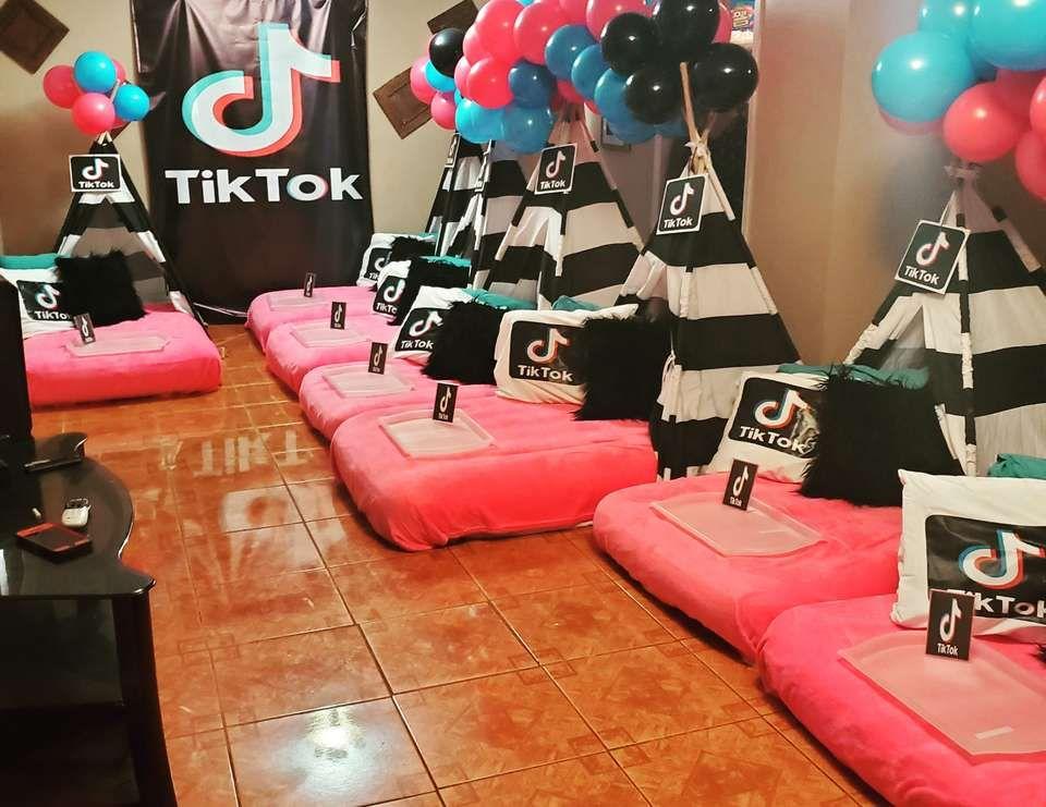 Tiktok Birthday 12th Tiktok Sleepover Catch My Party 14th Birthday Party Ideas Girls Birthday Party Ideas Sleepover Birthday Party For Teens