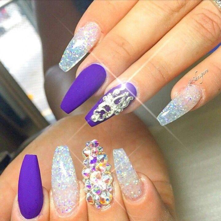 Matte Purple Squoval Acrylic Nails w/ Glitter & Rhinestones | nails ...