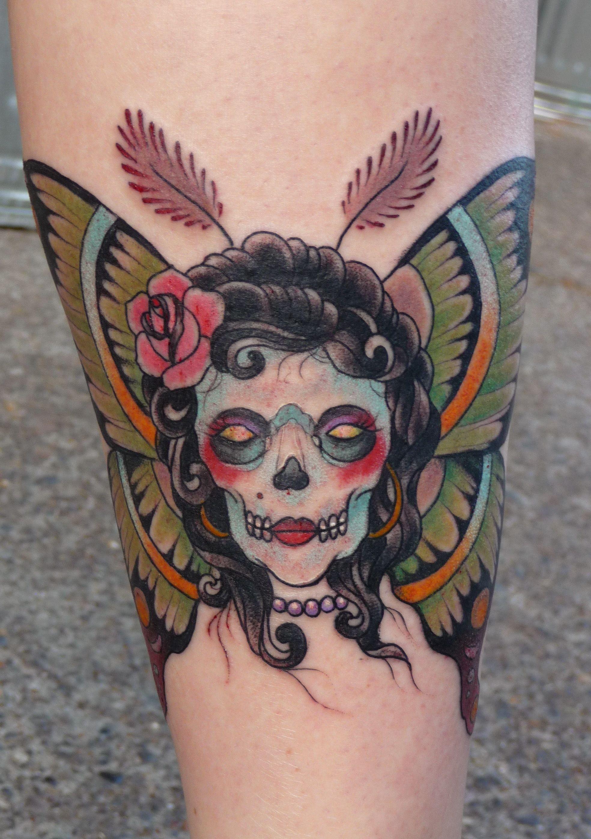 8b719fc8b85f0 Girl Face Moth Tattoo On Leg | Tattoo | Moth tattoo, Death head moth ...