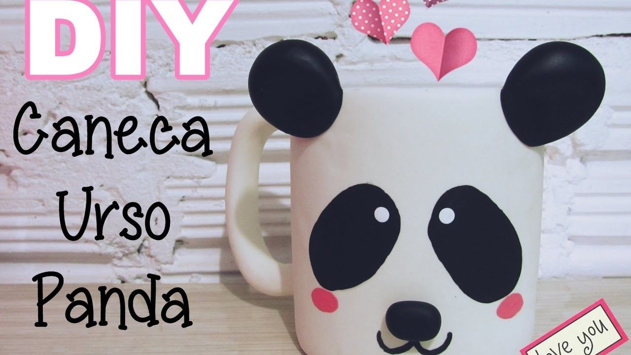 (DIY) Caneca Urso Panda em Biscuit (Panda Mug)
