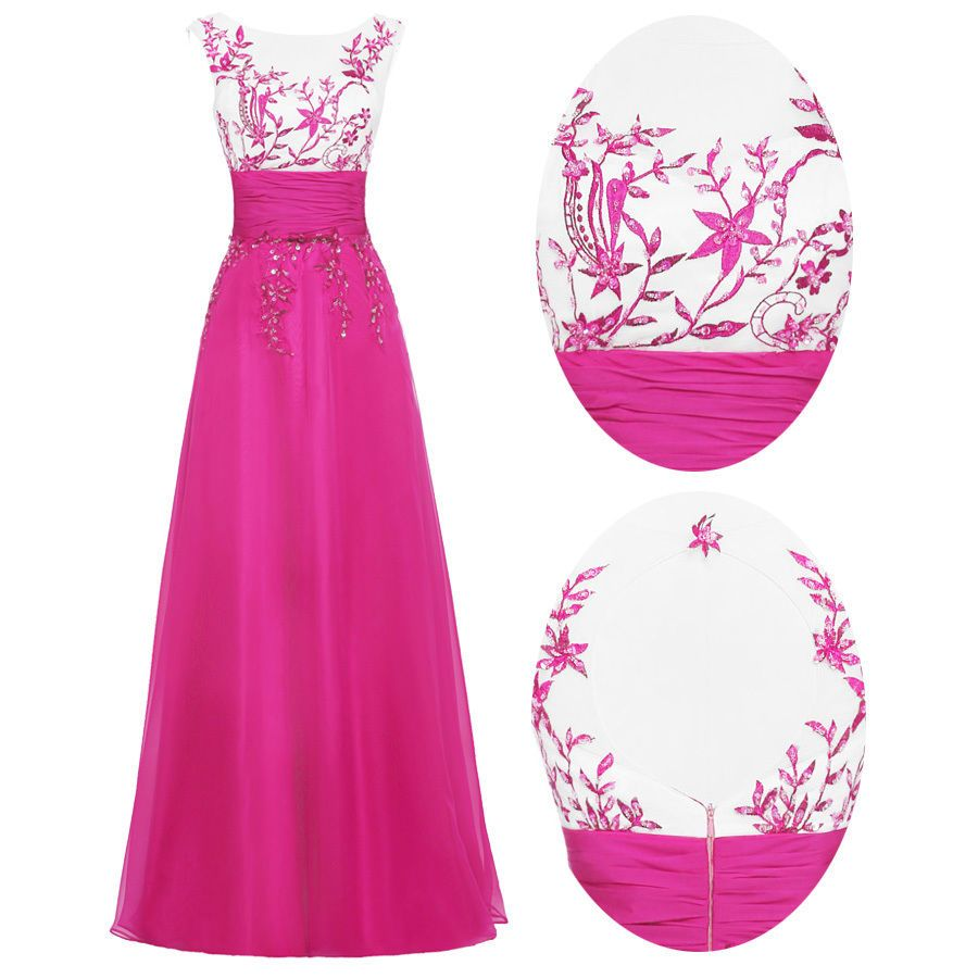 Awesome long beaded sequins wedding evening dresses party ball