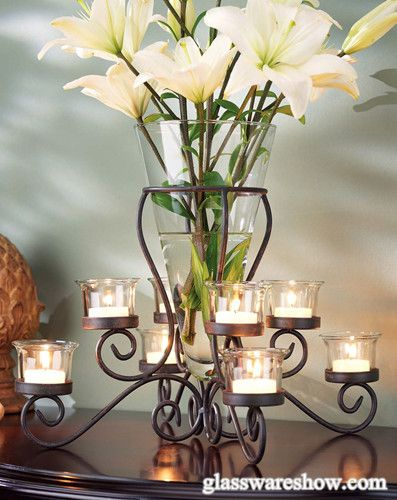 Clear Gl Vase And Tealight Holders With Wrought Iron Ch5858