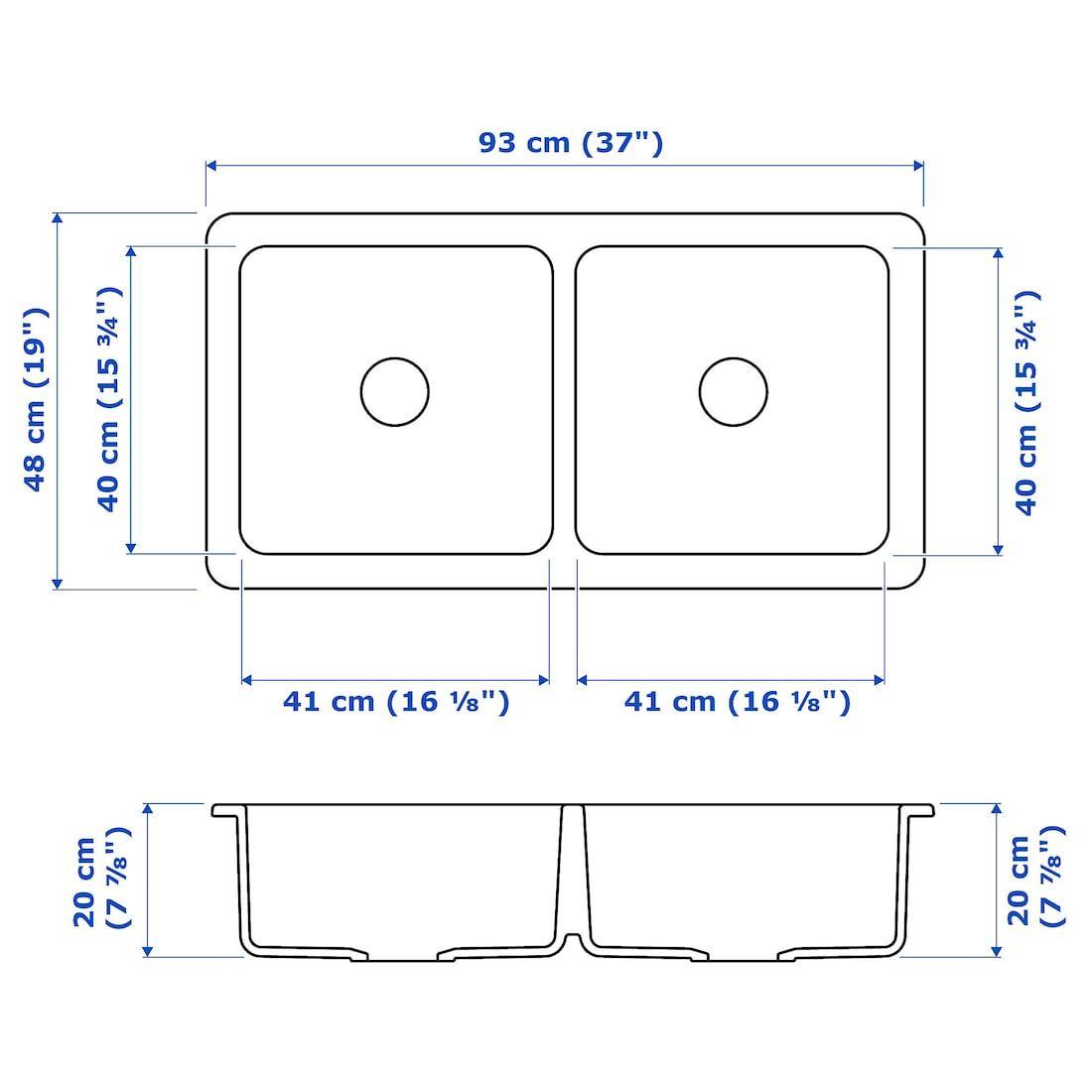 Havsen Apron Front Double Bowl Sink White Ikea In 2020 Double Bowl Sink Sink Sink Accessories