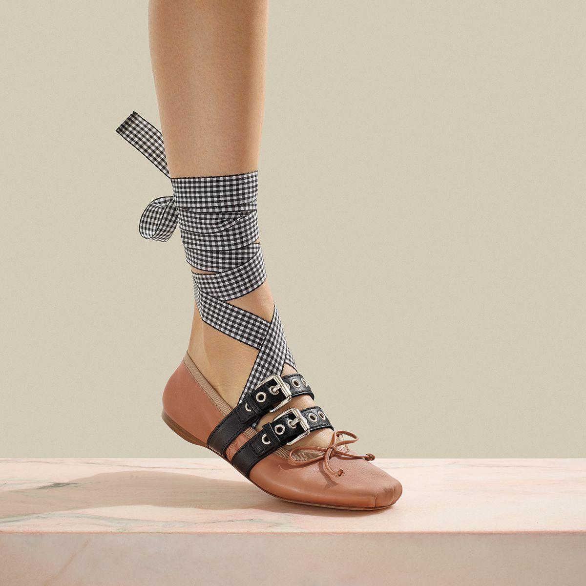 ankle tie ballerinas - Black Miu Miu szpS4f