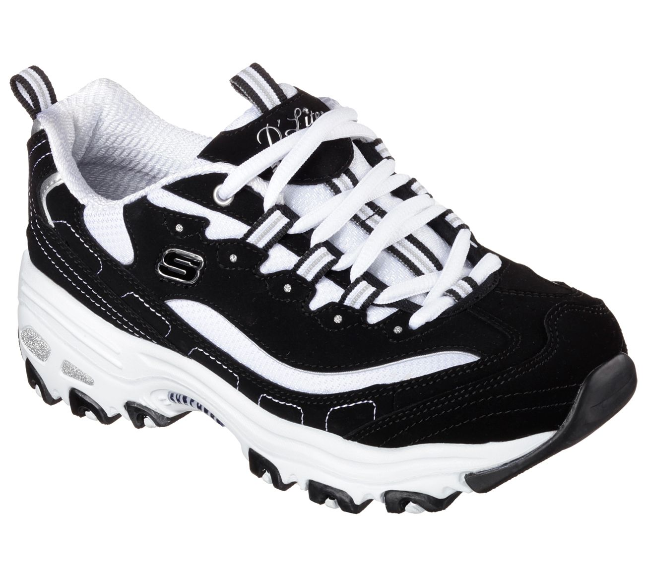 b9017cb32133 A classic look gets updated with comfort in the SKECHERS D Lites - Biggest  Fan shoe. Smooth trubuck leather and fabric upper in a lace up sporty  casual ...