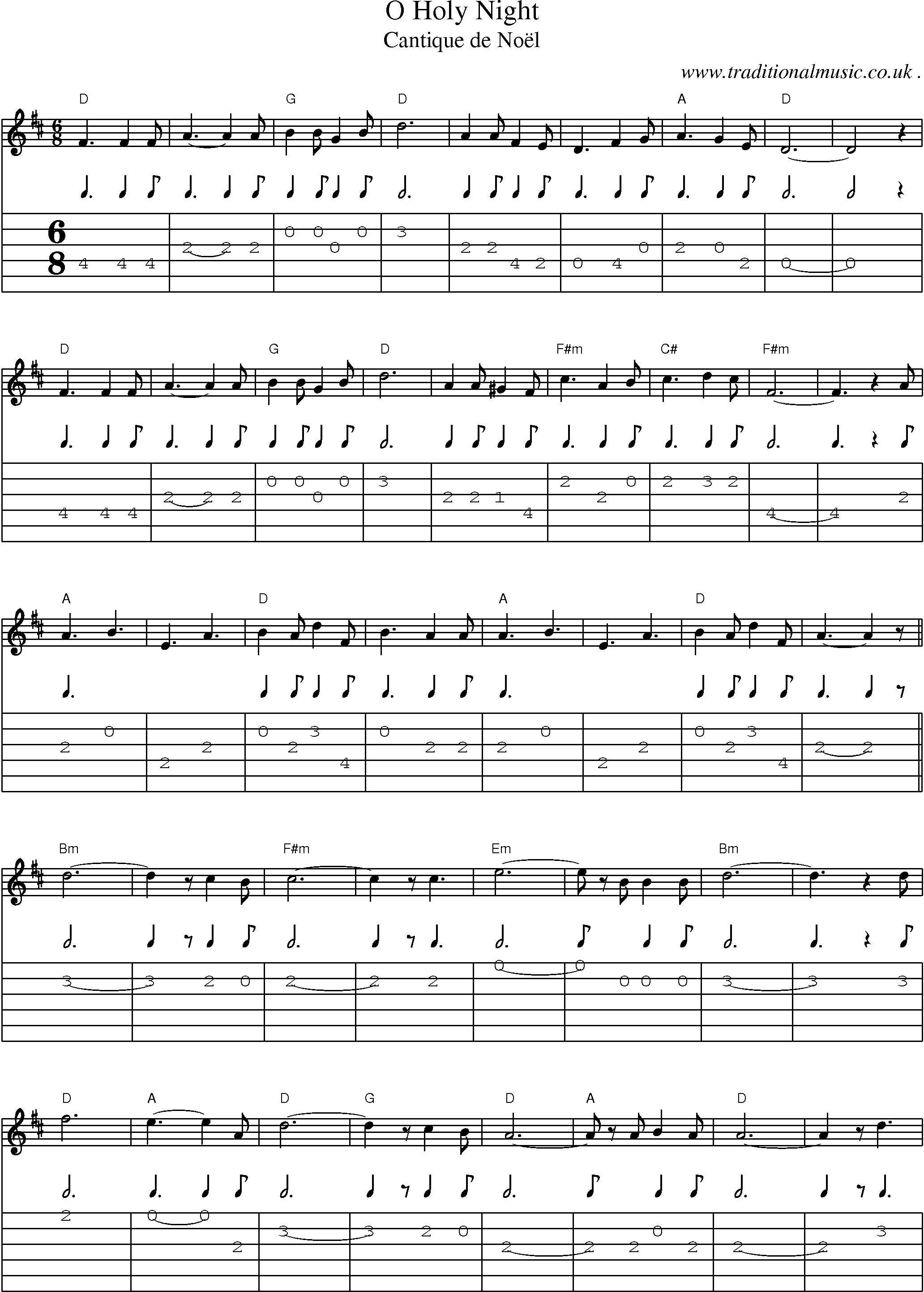 Music Score and Guitar Tabs for O Holy Night – Manuela