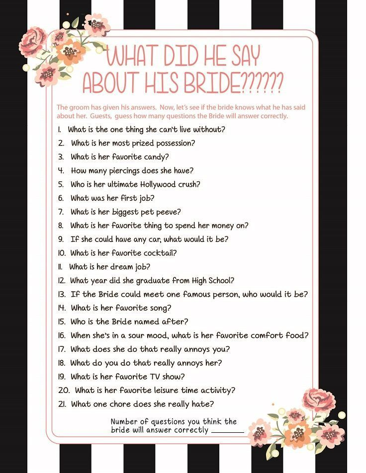 What did he say about his Bride, Bridal Shower Game, Black