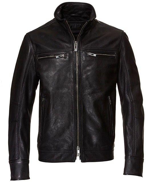 Classic Leather Jacket-S-Black