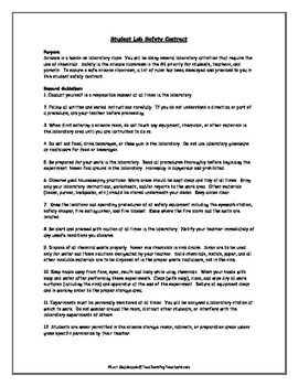 Lab Safety: Science Safety Contract | Science resources ...