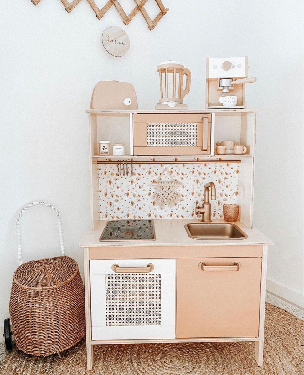 The Little Wildflower Wallpaper Splashback Diy Play Kitchen Ikea Kids Kitchen Ikea Play Kitchen
