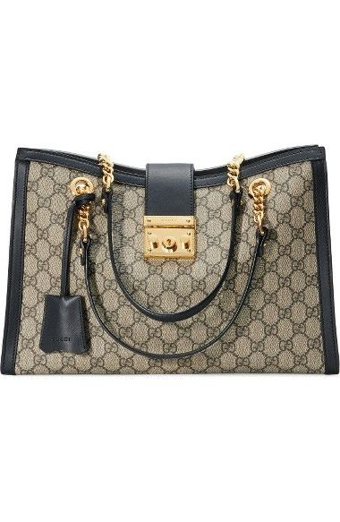f6e3a70dd98 GUCCI Medium Padlock Gg Supreme Canvas Tote.  gucci  bags  canvas  tote   lining  shoulder bags  suede  hand bags