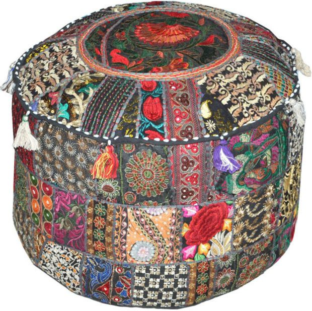 Bohemian Round Indian Ottoman Patchwork Pouf Cocktail
