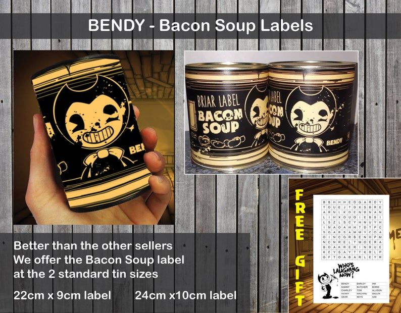 Bacon Soup Label 2 Sizes Bendy And The Ink Machine Free Gift