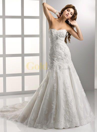 Mermaid Trumpet Sweetheart Beaded Lace Wedding Dress - US$399.62 - Goldwo.com