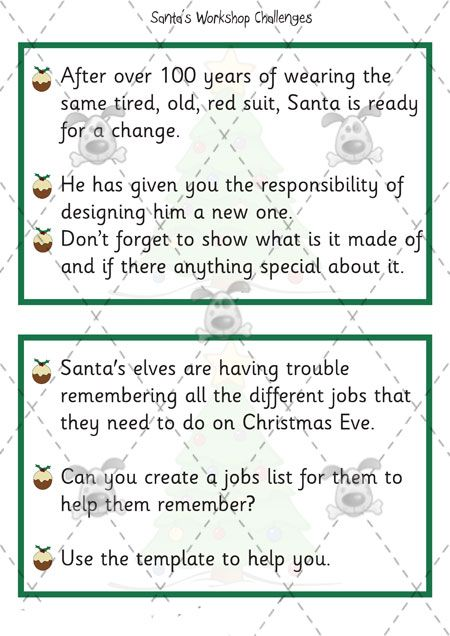 Teacher\'s Pet Activities & Games » Santa\'s Workshop Challenge Cards ...