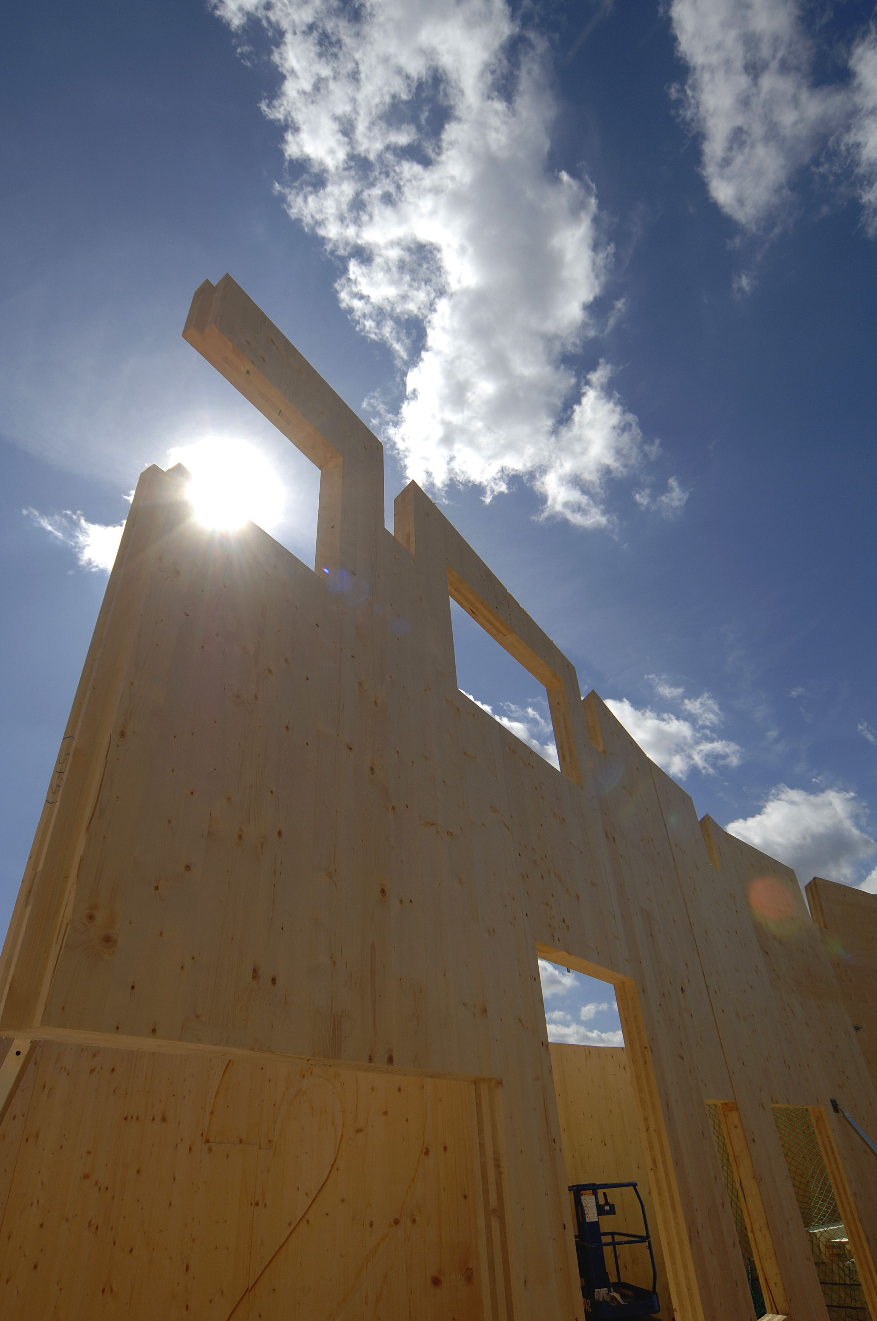 Construction of Open Academy, built with KLH cross laminated timber panels