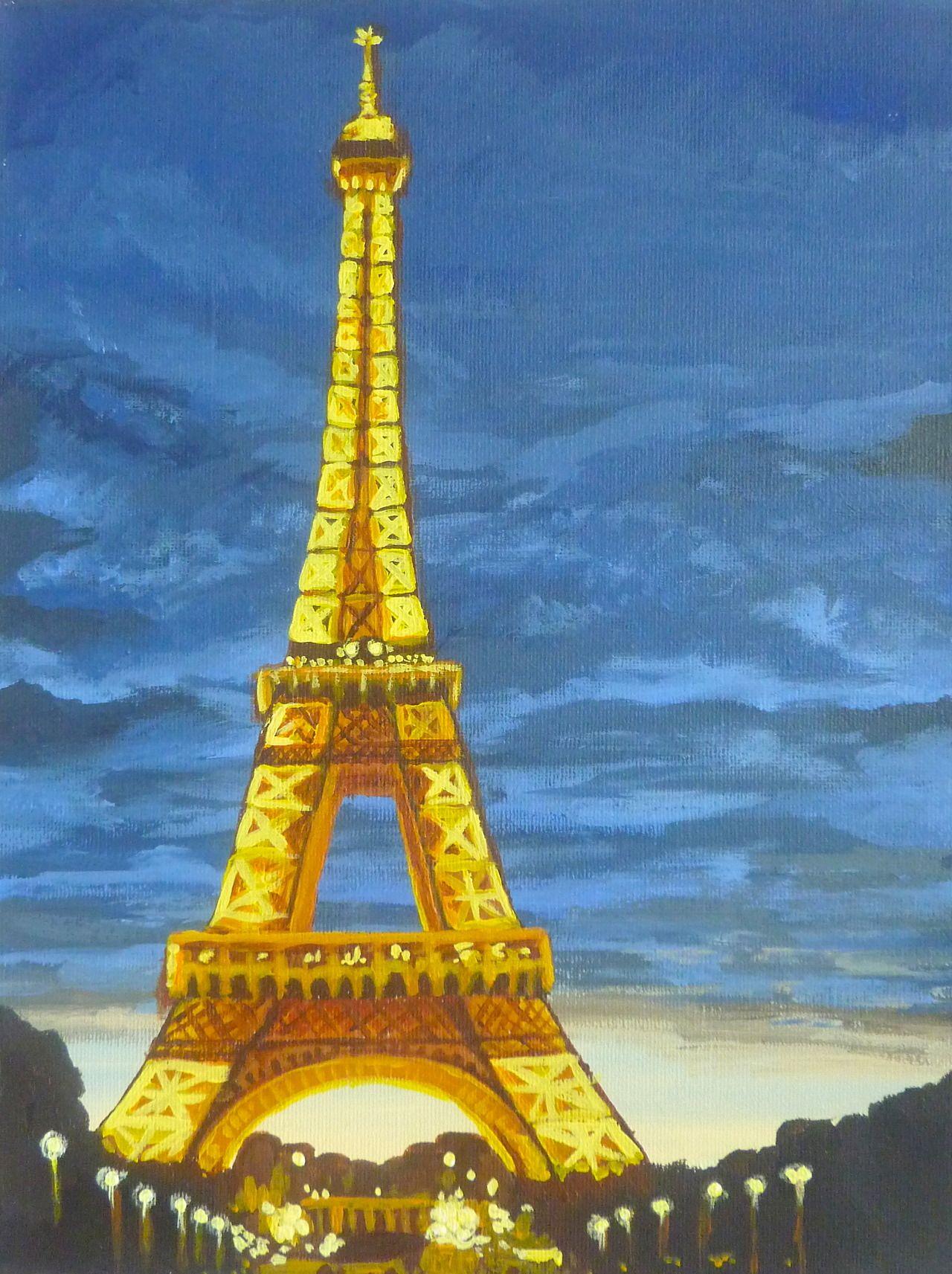 Eiffel Tower Night Art - Original Canvas Painting Cocostyle Studio Ideas In 2019