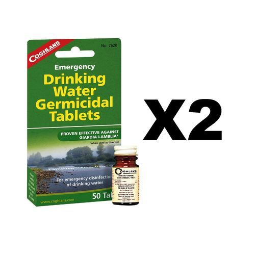 Coghlan's Emergency Drinking Water Germicidal Tablets Purification(2-Pack of 50)