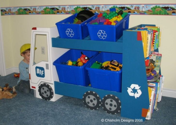 Bookshelf Storage Chest Kids Toy Box Plastic Play Room: Garbage Truck Play Space/toy And Book Shelf