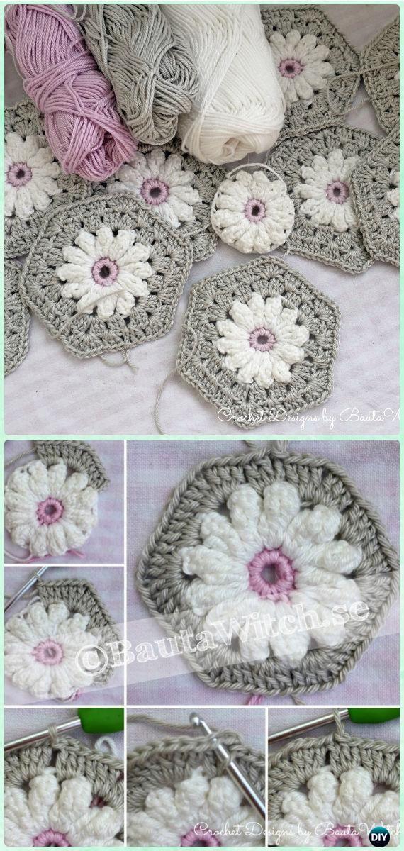 Crochet Daisy Flower Hexagon Motif Free Pattern Crochet Hexagon