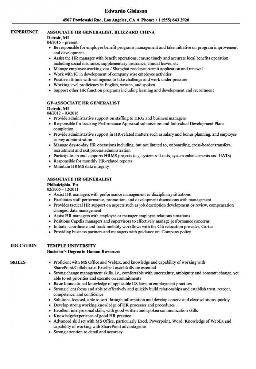 14 Hr Generalist Brisker Resume Format