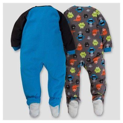 Gerber Toddler Boy 2pk Monster Microfleece Zip-Front Footed Blanket Sleepers - Blue 5T