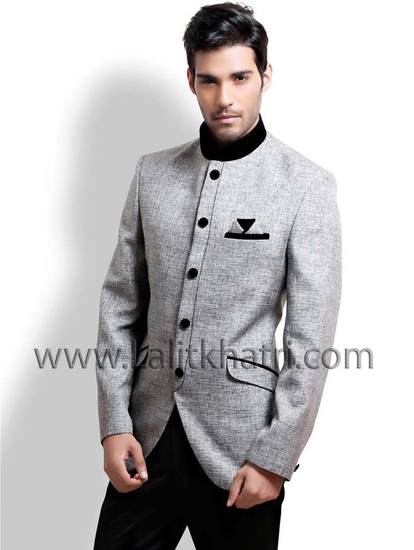 Grey Jodhpuri #Blazer Coat A Grey Color Jute Fabric Jodhpuri Suit With Black Trouser. Item Code ...