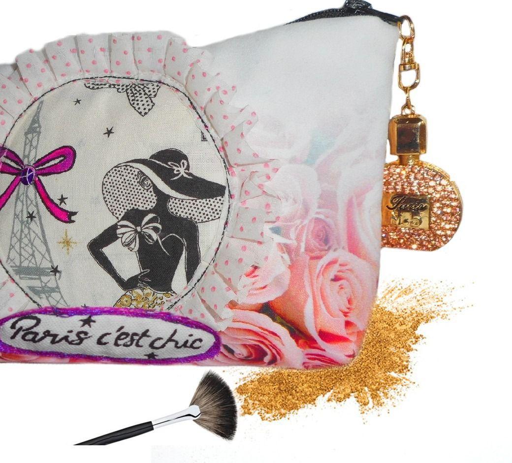 #trousse maquillage paris,  tour effeil, originale, motifs fleurs roses https://www.alittlemarket.com/trousses/fr_trousse_maquillage_elegante_paris_avec_roses_bouteille_de_parfum_en_bijou_-19142106.html