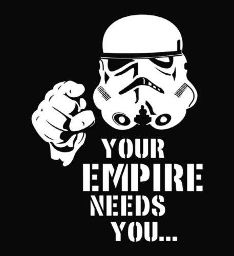 Star Wars Empire Needs You Die Cut Vinyl Decal Sticker