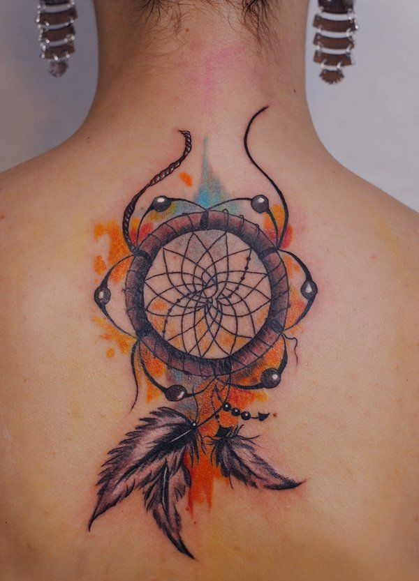 a4fca79002e57 Dreamcatcher watercolor tattoo - 65+ Examples of Watercolor Tattoo | Art  and Design