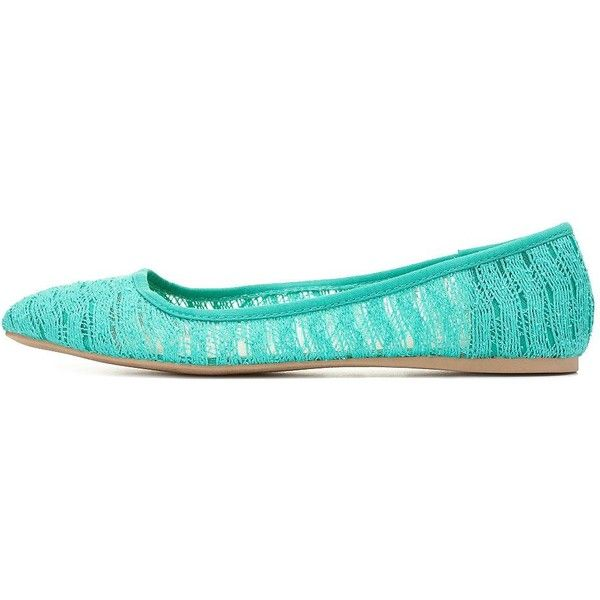 Charlotte Russe Mint Lace Pointy Toe Ballet Flat by Charlotte Russe at Charlotte Russe