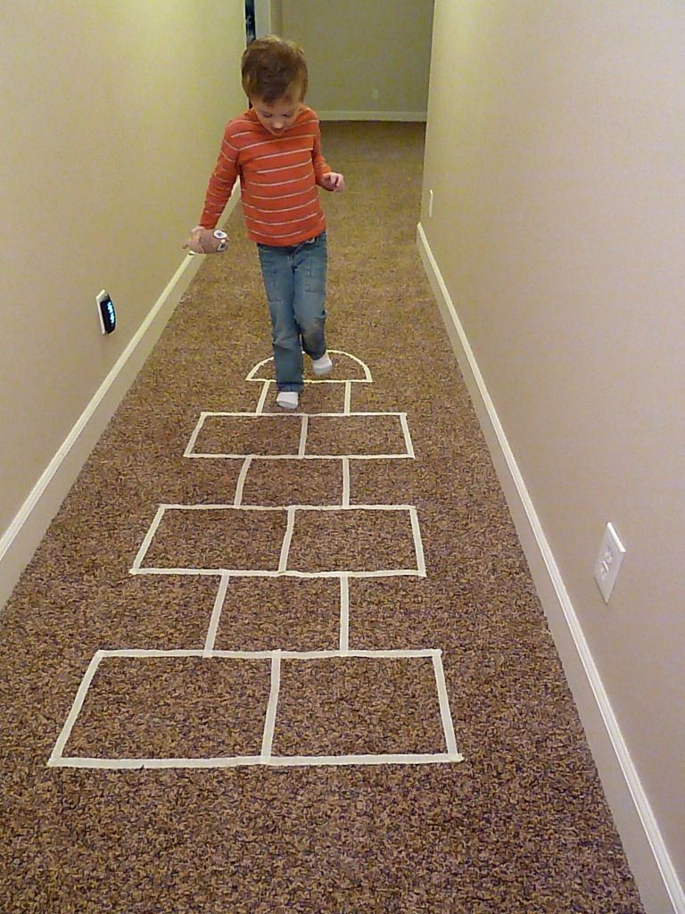 Collection of indoor games for kids using masking tape