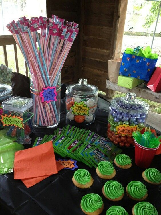 Half Of The Candy Table Turtle Party Ninja Turtle Party It S Your Birthday