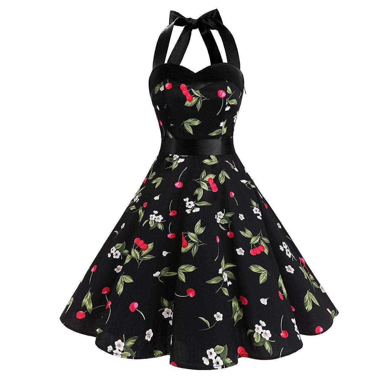 Cherry Printed Halter Dress Audrey Hepburn 50s Style Dresses 50s