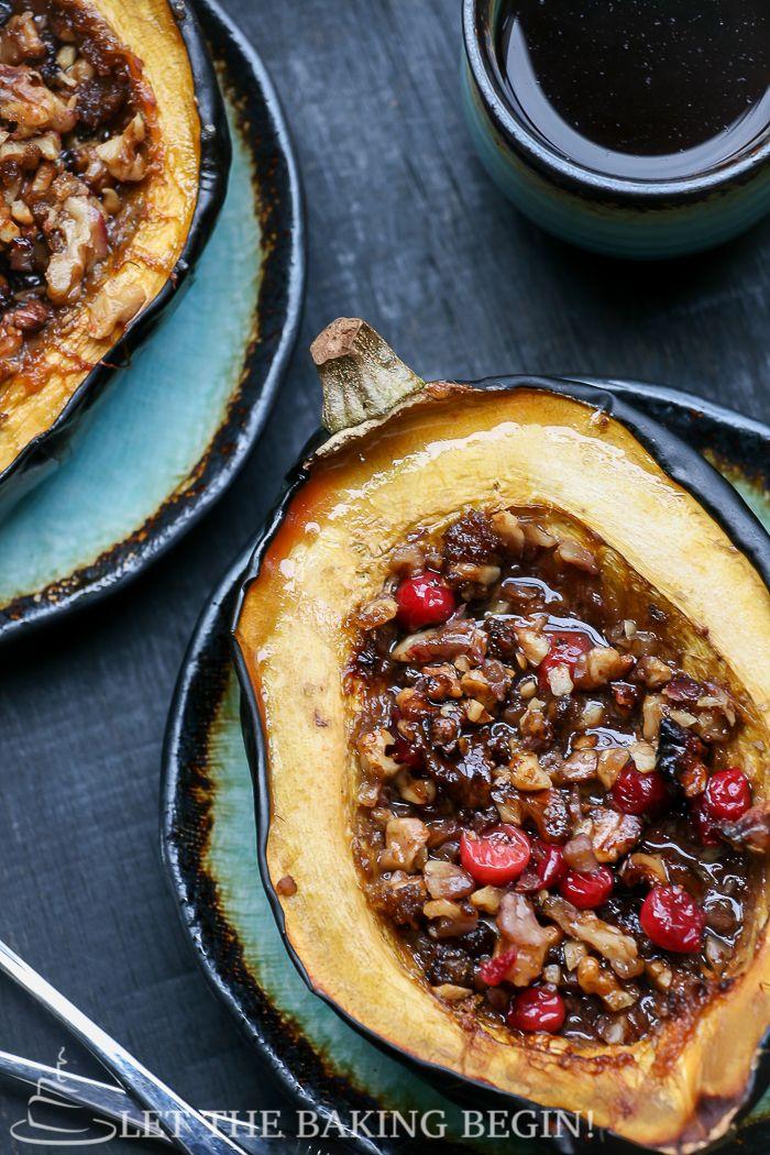 Acorn Squash With Brown Sugar Walnuts Cranberries Food Acorn