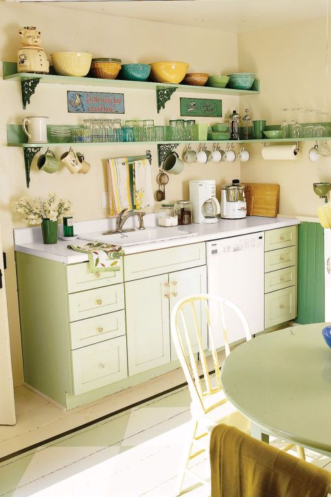 15+ Ways to Add Color to Your Kitchen Kitchens, Antique shops and