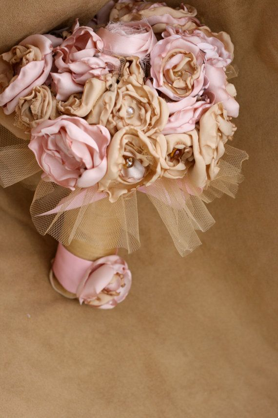 Pink gold fabric flower bouquet champagne rose tulle beaded bridal ...
