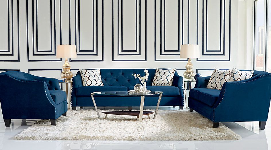 Picture Of Sofia Vergara Monaco Court Indigo 7 Pc Living Room From Furniture Blue Sofas Living Room Blue Sofa Living Navy Blue Living Room