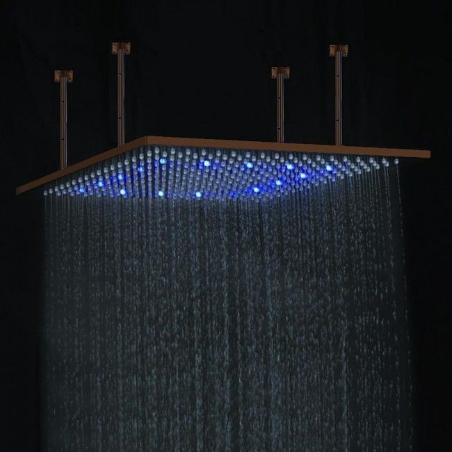 Square Color Changing Oil Rubbed Bronze Led Rain Shower Head