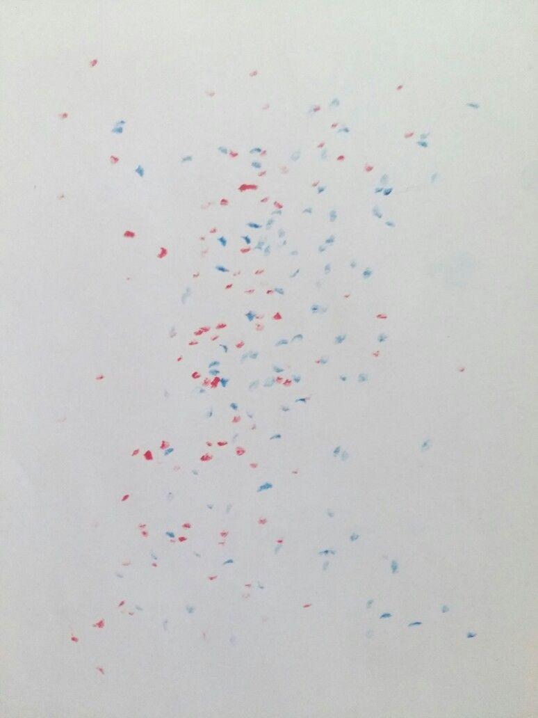 practice1-1  [추상, 즉흥, 점, 2차원]  연속동작(현대무용) - 크레파스(분홍,파랑) 대상의 모습을 크레파스를 이용하여 즉흥적으로 찍어내어 움직임을 표현함.