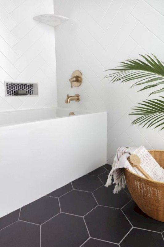 Classic Black And White Bathroom White Bathroom Tiles Bathroom Tile Designs Stylish Bathroom