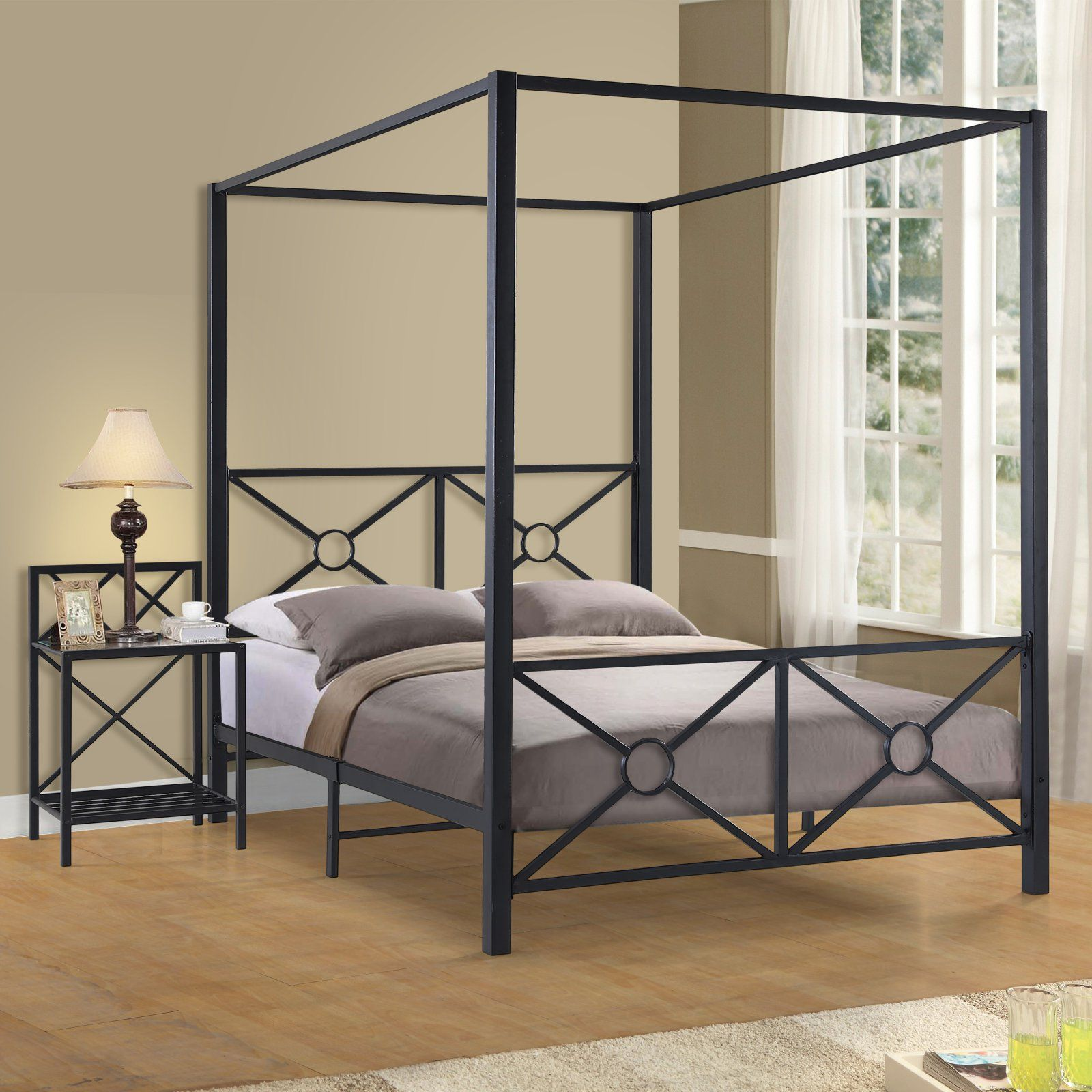Home Source Industries Marissa Metal Canopy Bed, Size