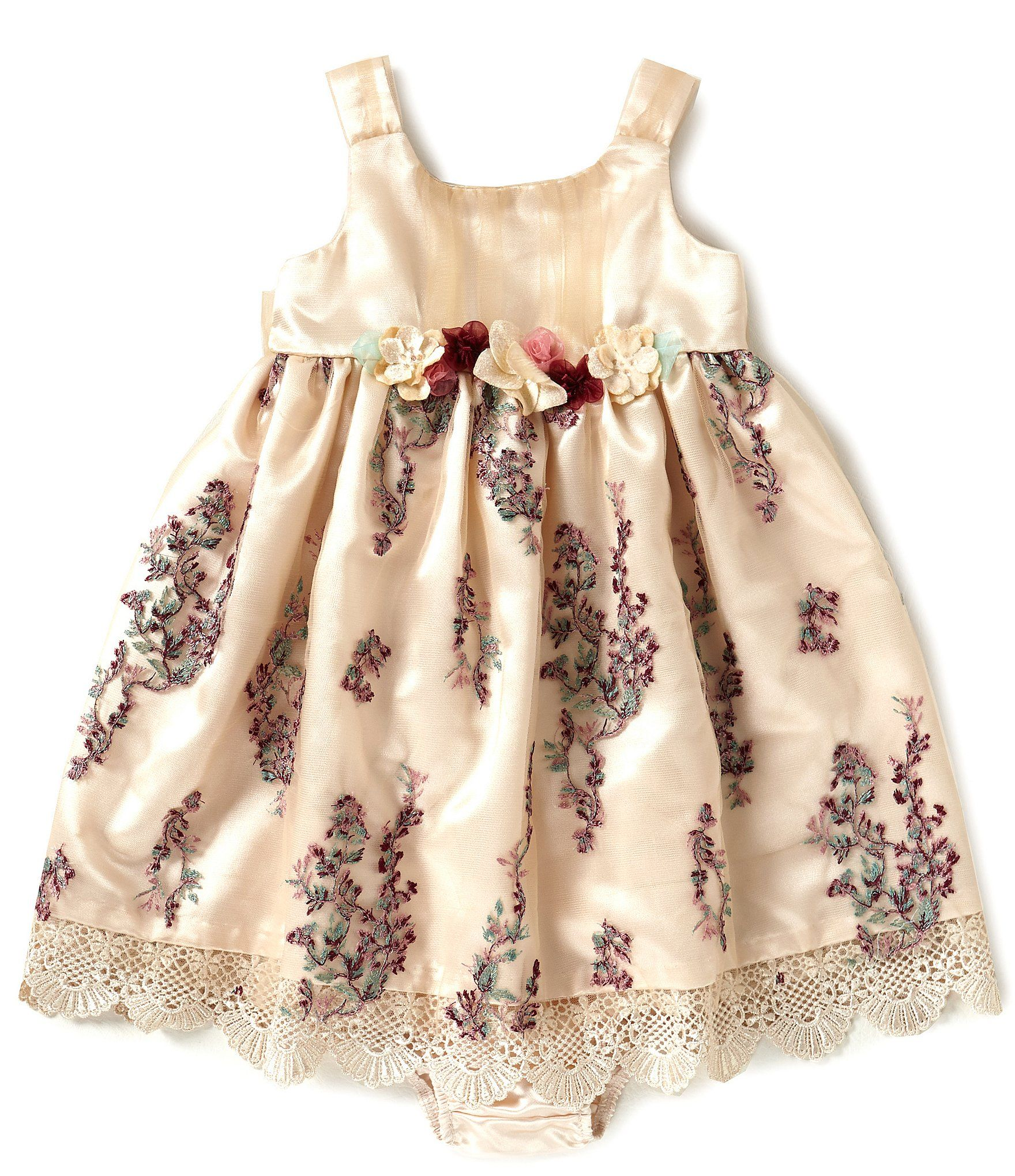 Bonnie Baby Baby Girls Newborn24 Months Embroidered Mesh ALine Dress