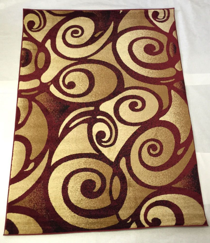 Burgundy red gold beige swirl modern style oriental area for Red and gold area rugs