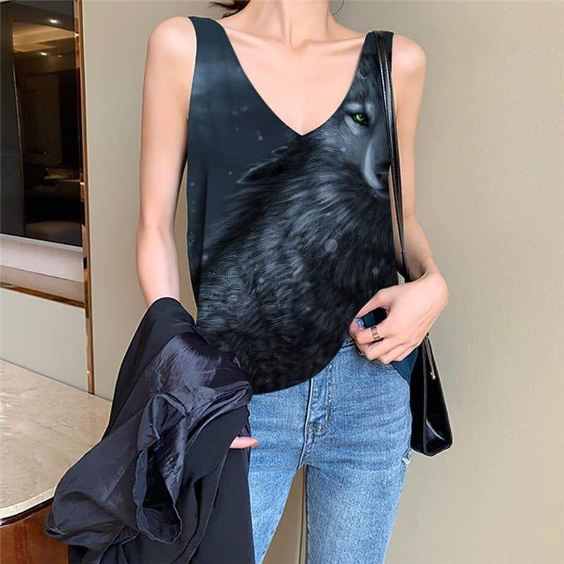 Photo of Wolf Tank-Top women Animal Tank Tops Casual Anime Funny Top Moon Vest Print – M